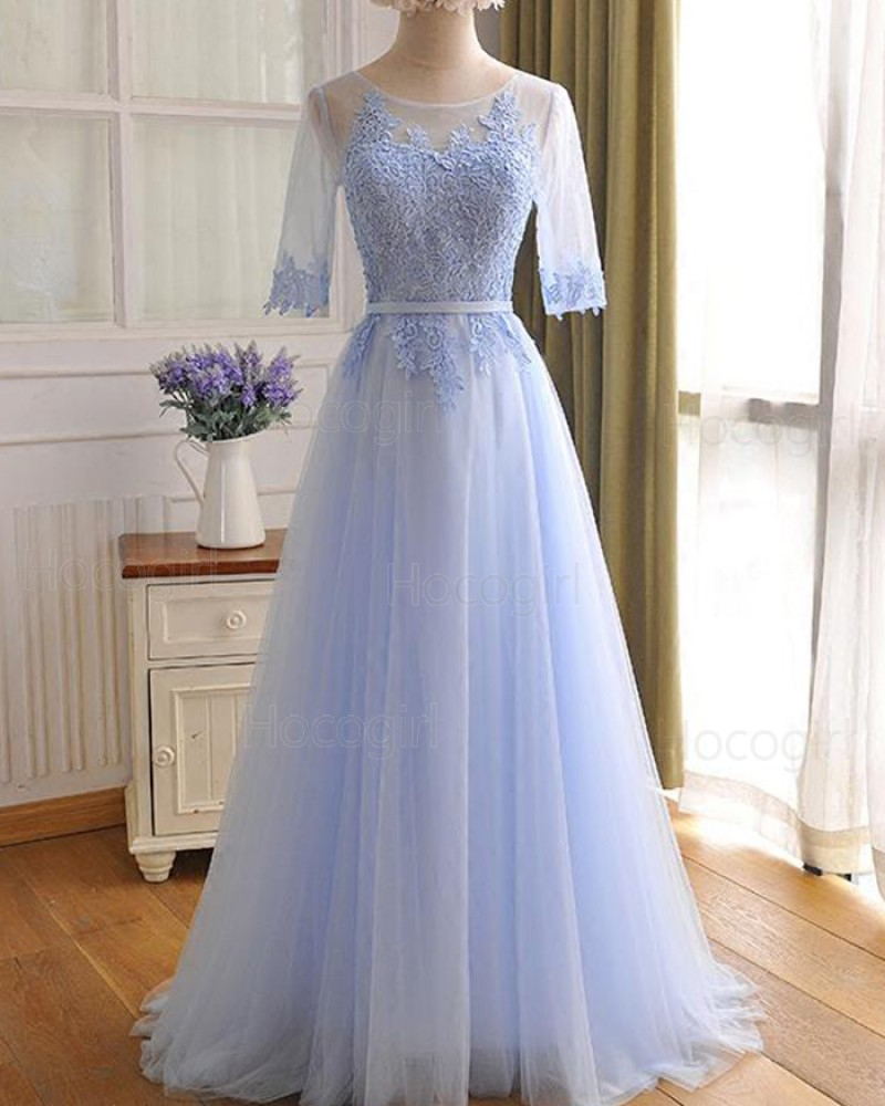 Light Blue Tulle Lace Appliqued Prom Dress with Half Length Sleeves PM1301