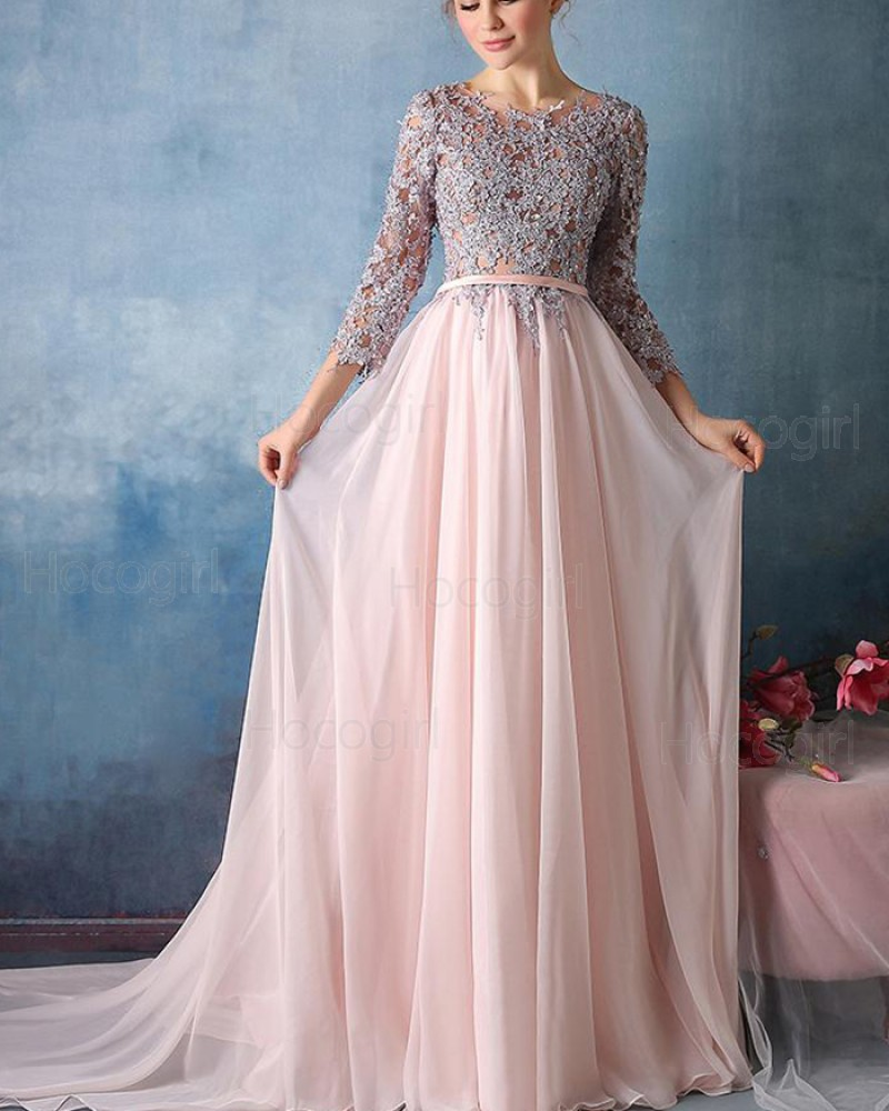Jewel Lace Appliqued Pink Tulle Formal Dress with 3/4 Length Sleeves PM1303