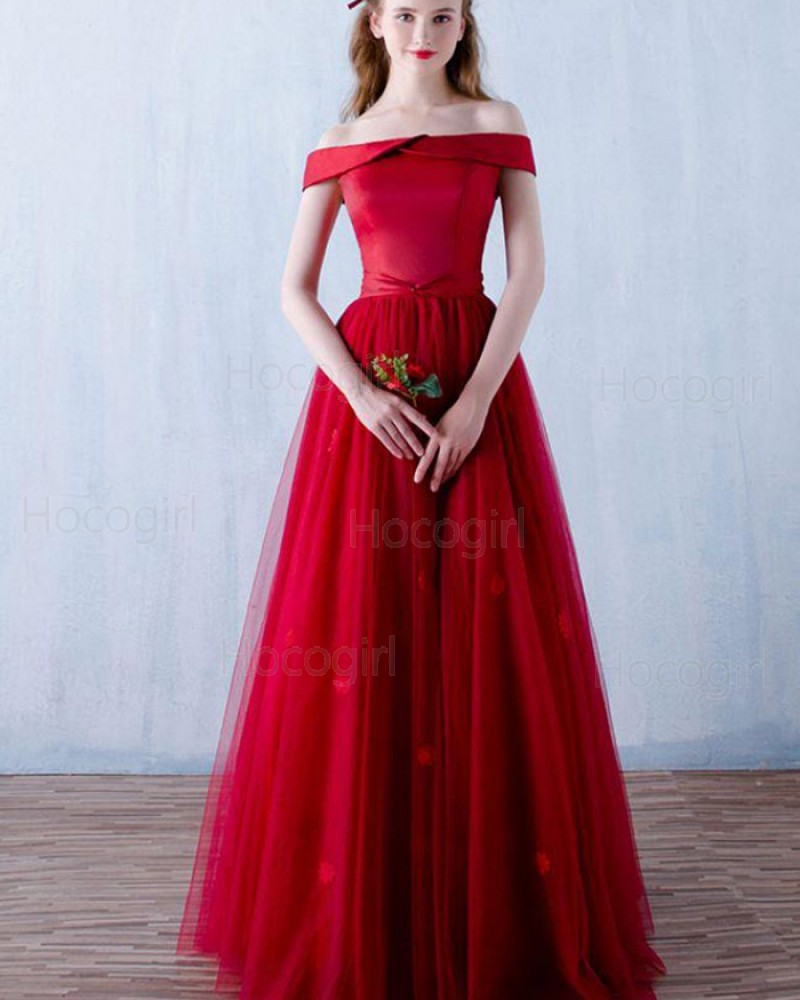 Off the Shoulder Red Satin Long Prom Dress with Handmade Flowers PM1304