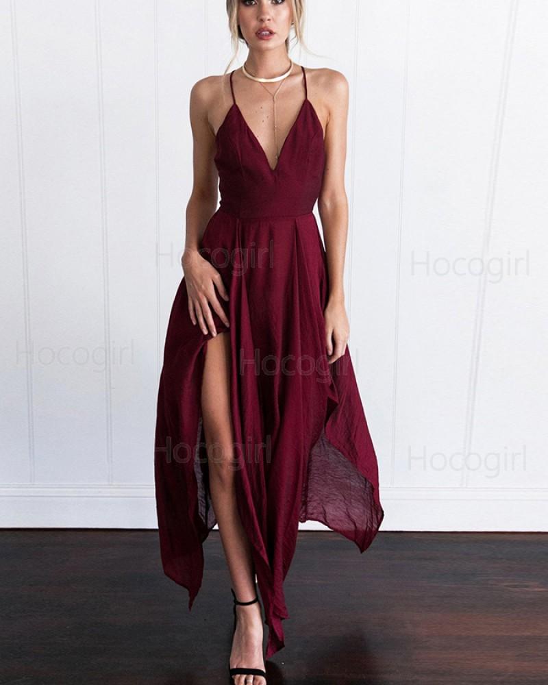 V-neck Burgundy Chiffon Simple Prom Dress with Side Slit PM1308