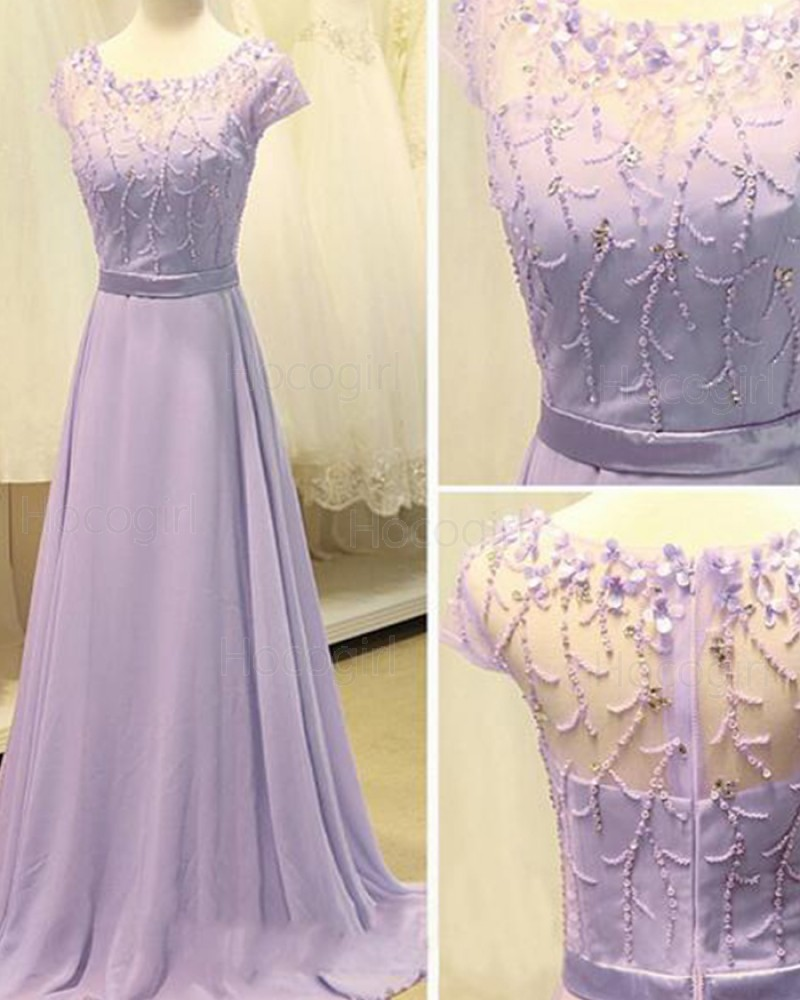 Scoop Beading Lavender Chiffon Long Prom Dress with Short Sleeves PM1309