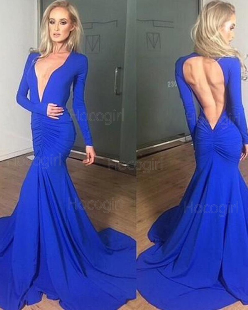 V-neck Ruched Blue Simple Satin Mermaid Style Prom Dress with Long Sleeves PM1310