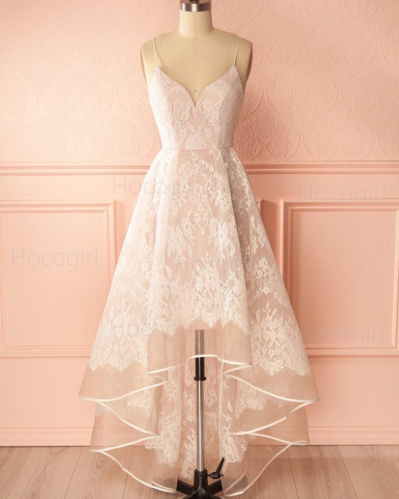 High Low Champagne Spaghetti Straps Lace Prom Dress PM1314