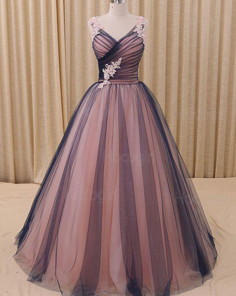V-neck Ruched Pink and Black Appliqued Ball Gown Evening Dress PM1315