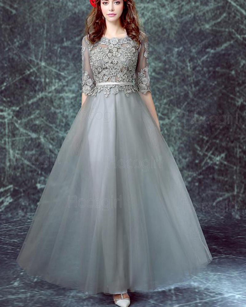 Jewel Grey Appliqued Bodice Tulle Formal Dress with Half Sleeves PM1334