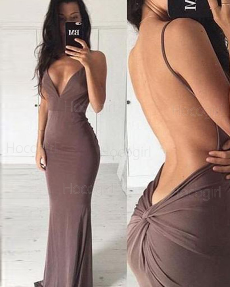 Deep V-neck Brown Satin Mermaid Long Formal Dress with Open Back PM1339