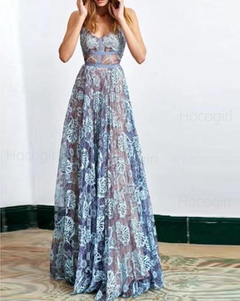 Stunning Spaghetti Straps Blue Lace Sheath Long Prom Dress PM1342