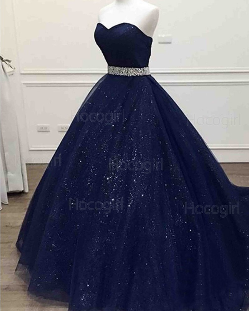 Sparkle Navy Blue Sweetheart Tulle Long Prom Dress with Beading Belt PM1346