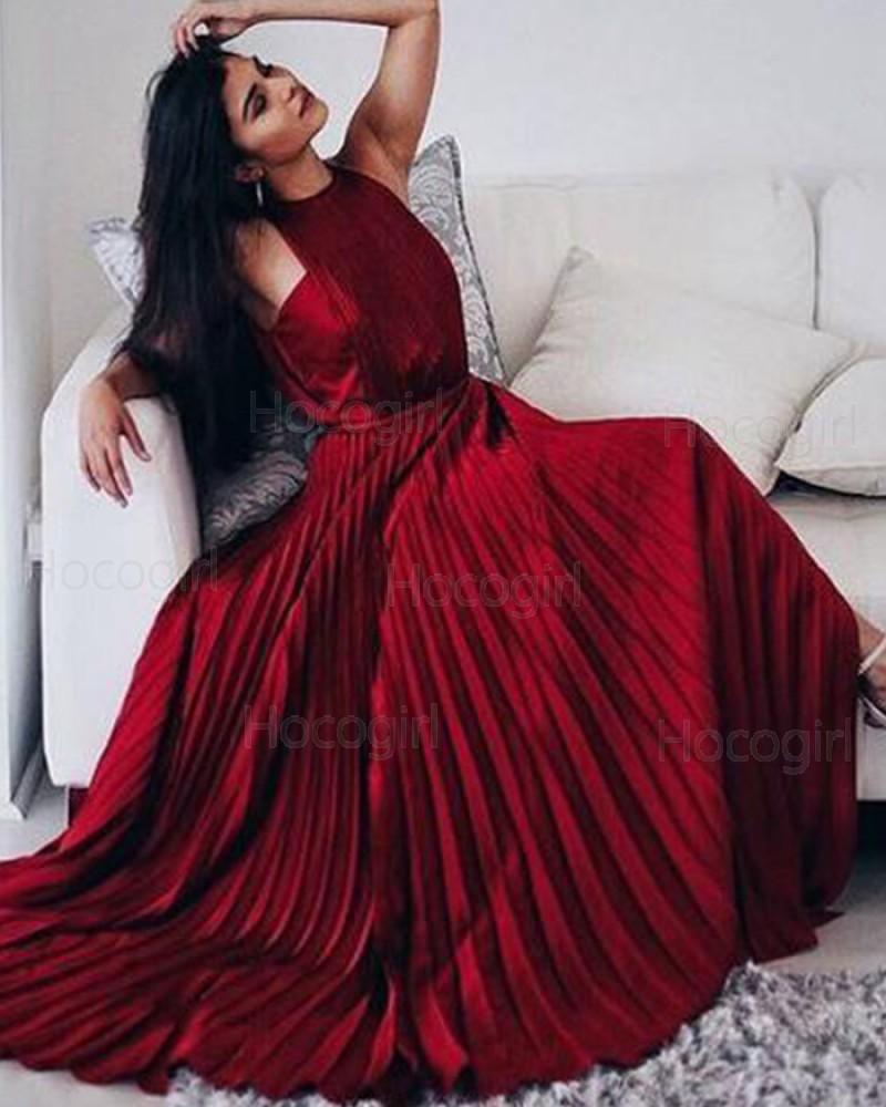 Elegant Halter Rose Red Satin Pleated Long Prom Dress PM1354