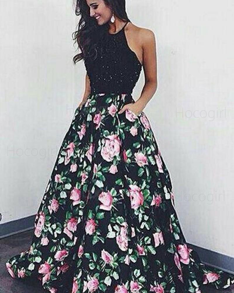 Halter Beading Bodice Floral Print Long Prom Dress PM1358