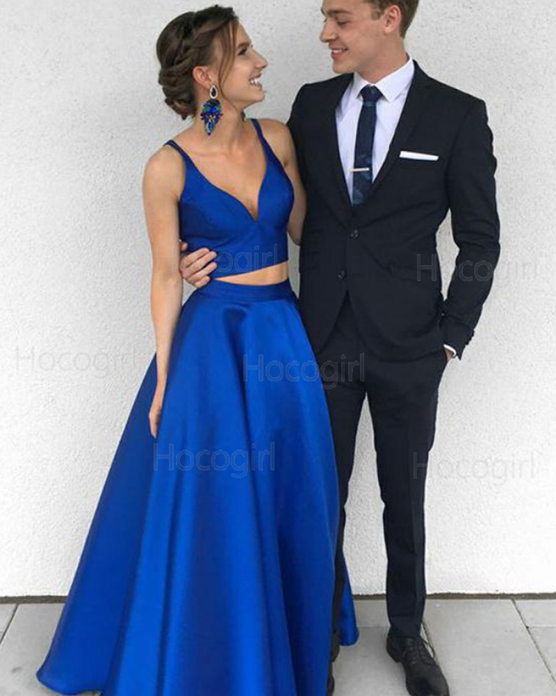 Simple Deep V-neck Royal Blue Satin Two Piece Prom Dress PM1360