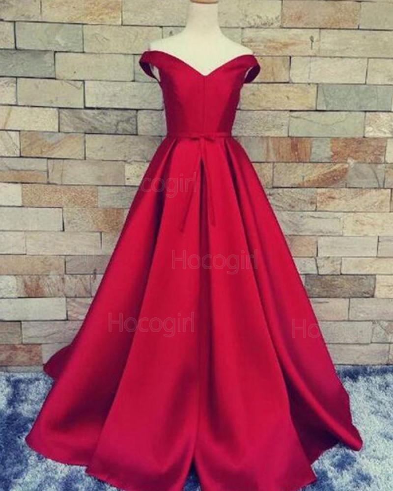 Off the Shoulder Burgundy Satin Simple Long Prom Dress PM1375