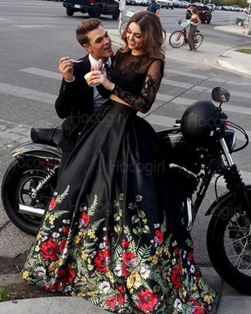 Two Piece Black Long Sleeve Prom Dress with Floral Print Skirt PM1380