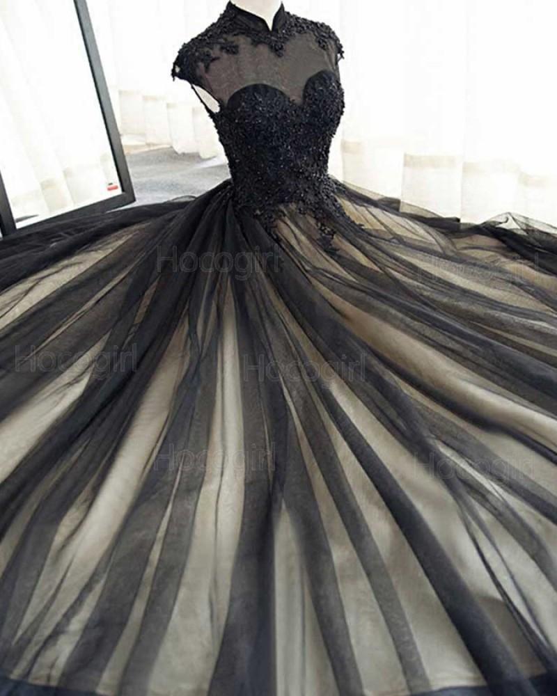 High Neck Appliqued Black Tulle Long Evening Dress PM1401