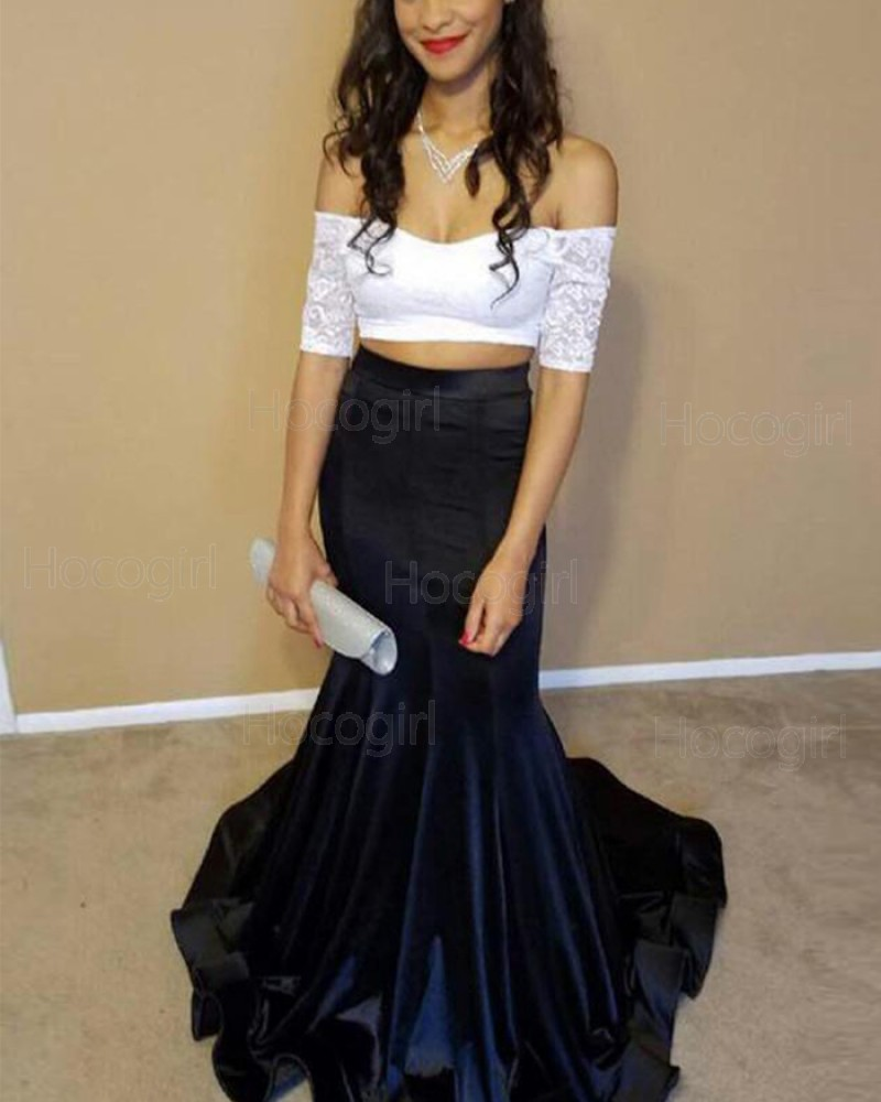 Off the Shoulder White & Navy Lace Bodice Mermaid Prom Dress PM1402