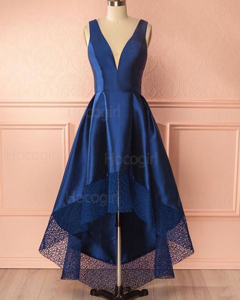 Deep V-neck Royal Blue High Low Prom Dress with Lace Hem PM1403