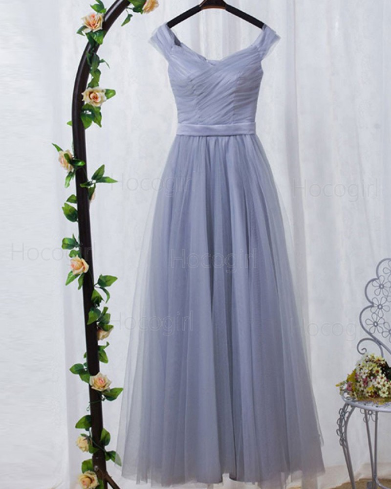 Dusty Blue Off the Shoulder Ruched Tulle Bridesmaid Dress PM1404