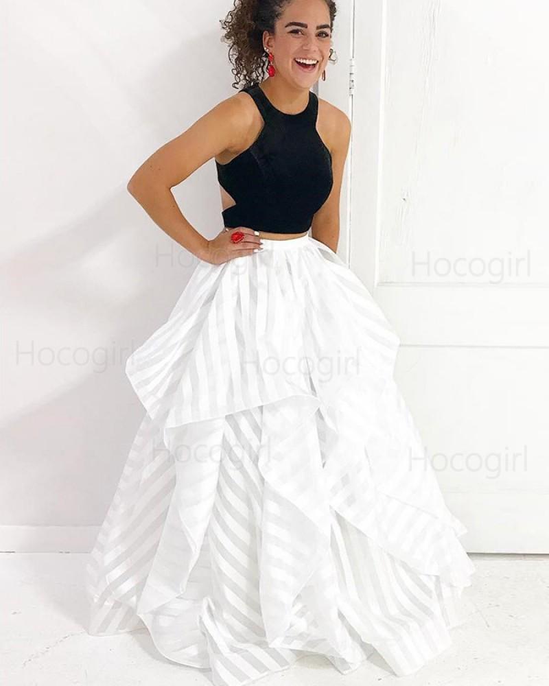Two Piece Black & White Strips Ruffled Prom Dress PM1419