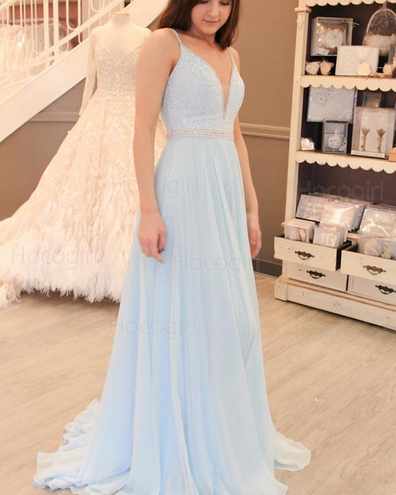 Spaghetti Straps Sky Blue Beading Bodice Tulle Long Prom Dress PM1420