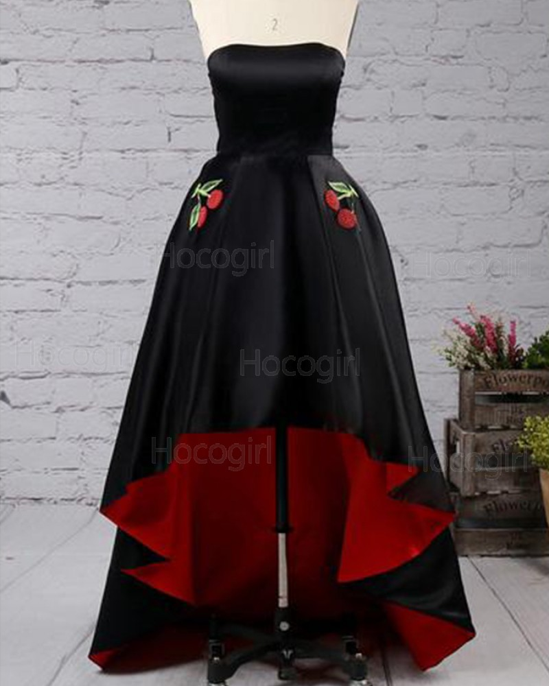 Strapless Black and Red Pleated High Low Prom Dress with Appliqued Pockets PM1434