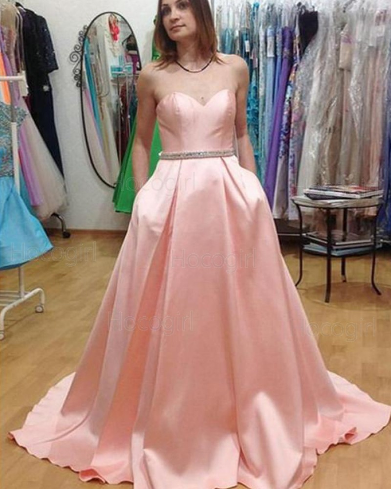 Sweetheart Pink Satin Long Prom Dress with Pockets PM1442