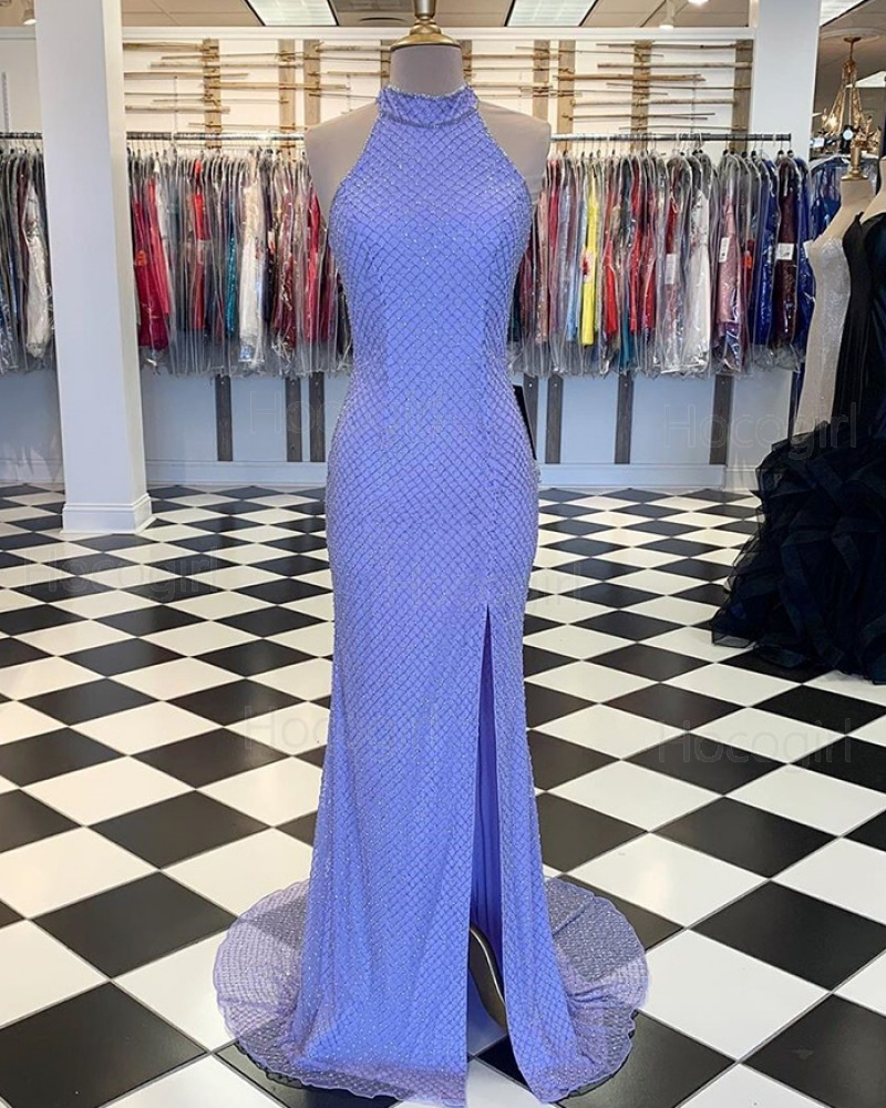 High Neck Mermaid Fish Net Lace Blue Mermaid Prom Dress with Side Slit PM1802
