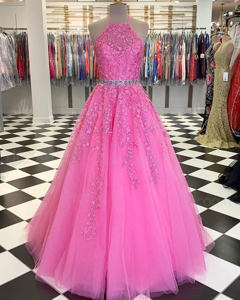 Halter Blush Pink Lace Applique Tulle Prom Dress with Beading Belt PM1805