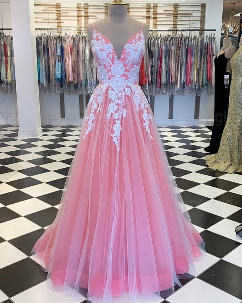 Spaghetti Straps Peach Tulle Pleated Prom Dress with Lace Applique PM1808