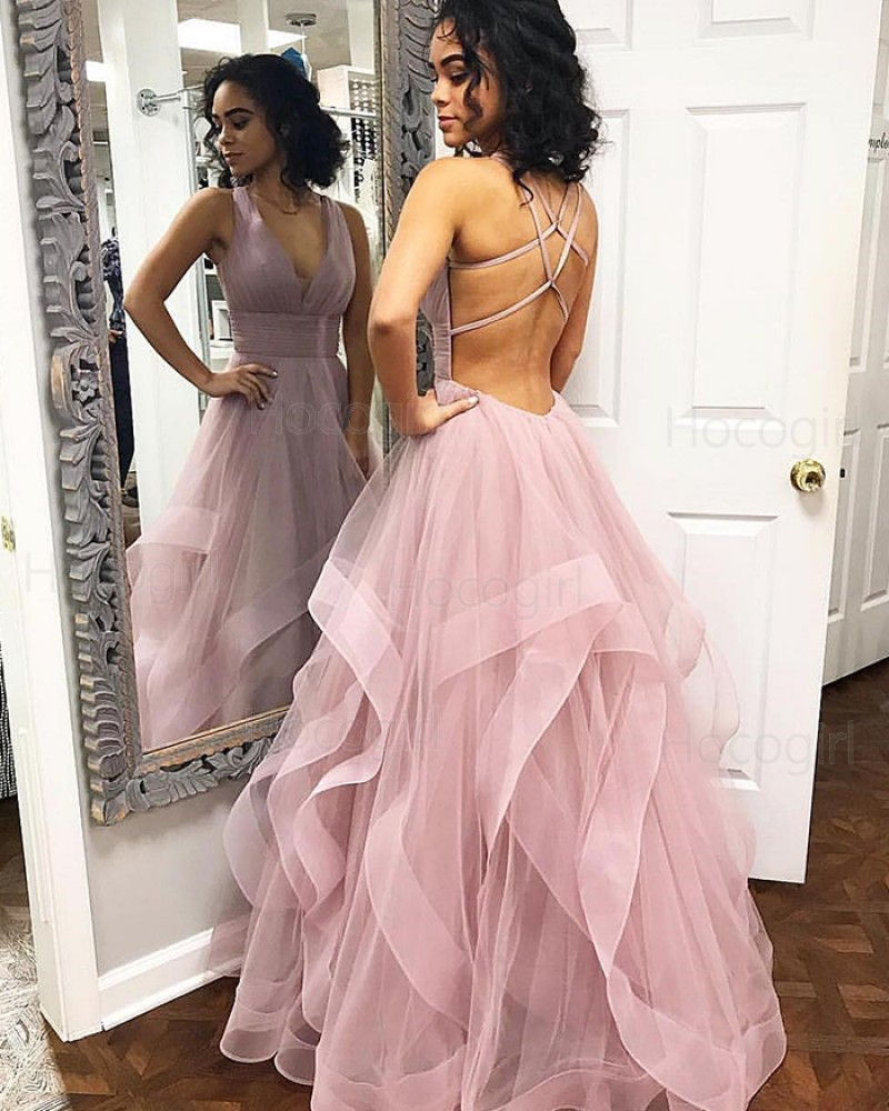 Simple V-neck Light Purple Ruffled Tulle Prom Dress PM1821