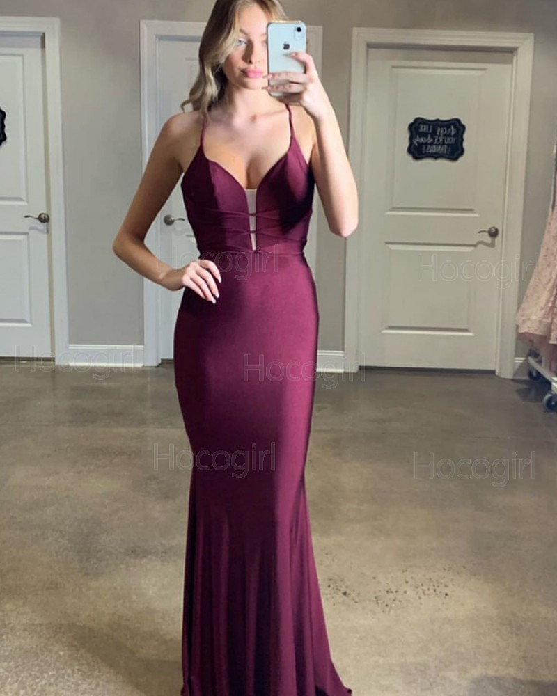 Simple Spaghetti Straps Burgundy Mermaid Satin Prom Dress PM1826