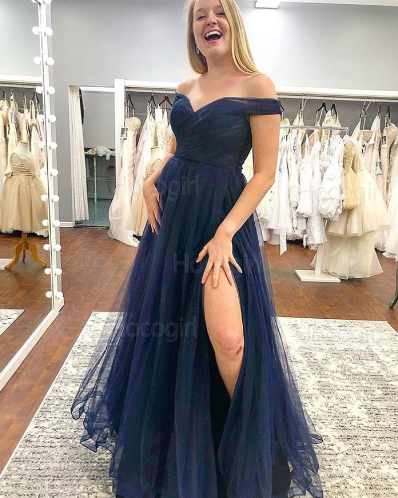 Off the Shoulder Navy Blue Tulle Pleated Prom Dress with Side Slit PM1833