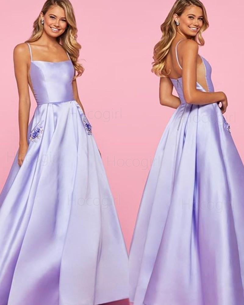 Spaghetti Strap Lavender Satin Prom Dress with Beading Pockets PM1835