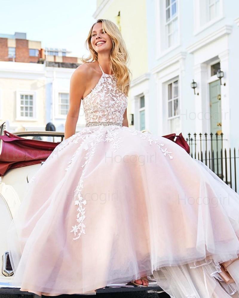 Halter Lace Appliqued Light Pink Tulle Prom Dress PM1836