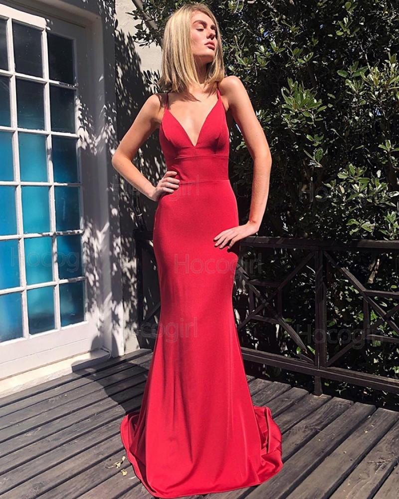Simple Red Spaghetti Strap Mermaid Prom Dress PM1838