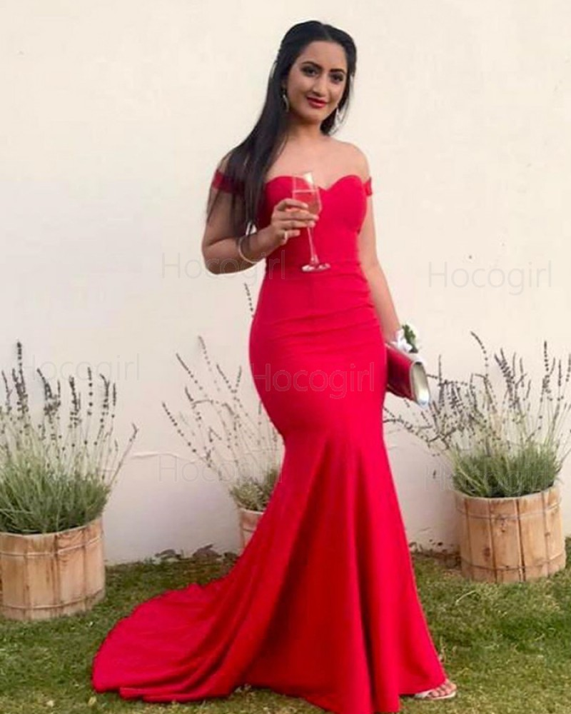Simple Off the Shoulder Red Mermaid Prom Dress PM1840