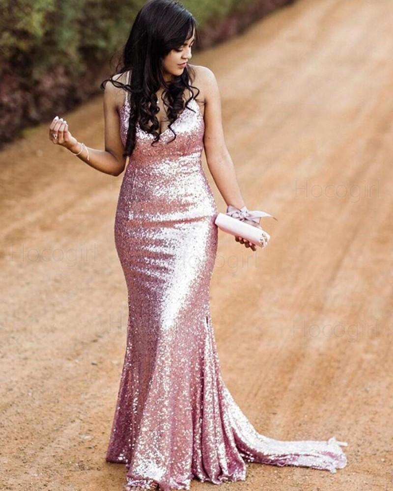 Spaghetti Straps Rose Gold Sequin Mermaid Prom Dress PM1845