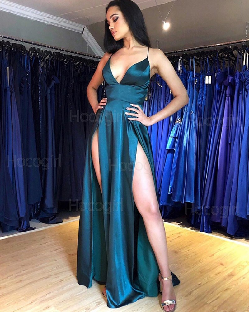 Sexy Spaghetti Straps Teal Satin Prom Dress with Side Slits PM1847