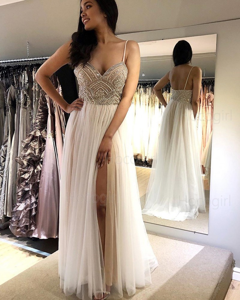 Spaghetti Straps White Beading Bodice Pleated Tulle Prom Dress with Side Slit PM1852