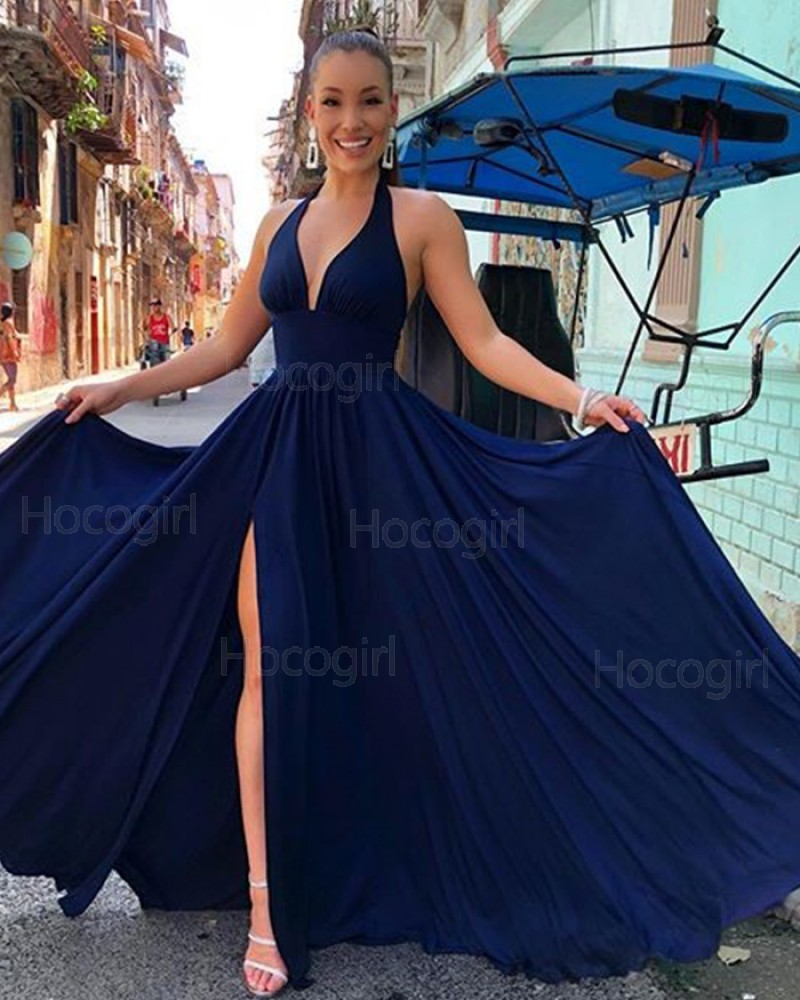 Simple Halter Navy Blue Pleated Satin Prom Dress with Side Slit PM1853