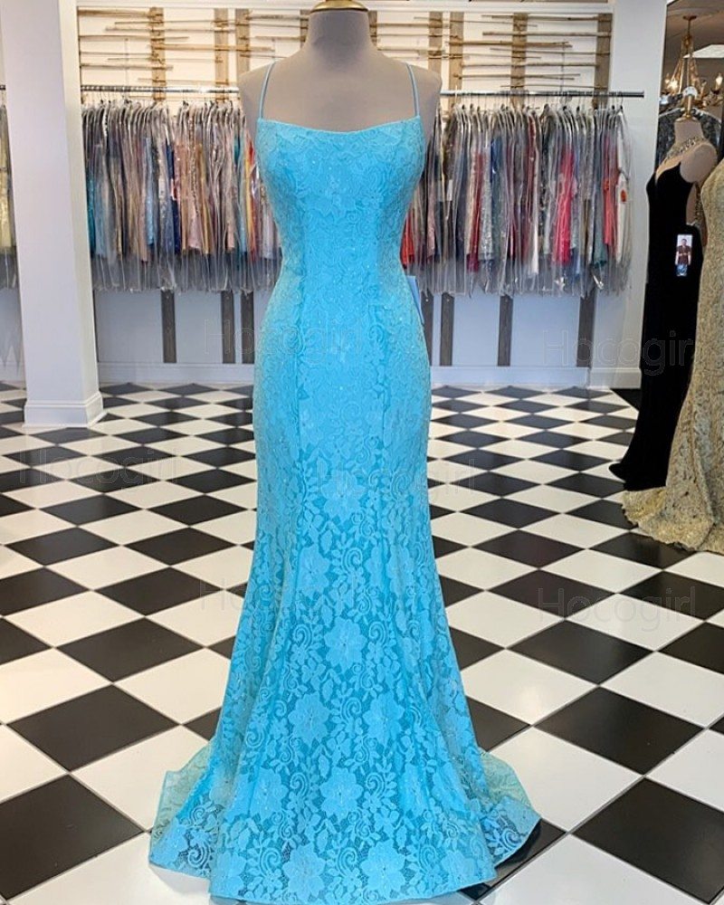 Spaghetti Strap Cyan Lace Mermaid Prom Dress PM1857