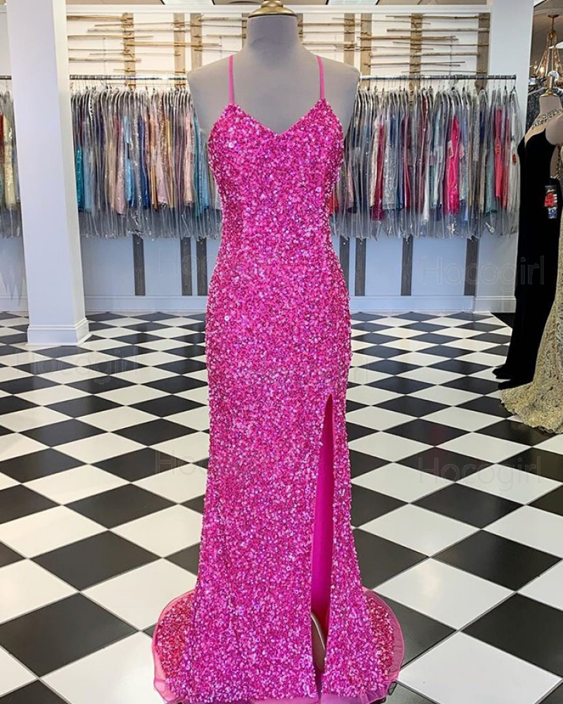 Spaghetti Straps Rose Red Sequin Prom Dress with Side Slit PM1858