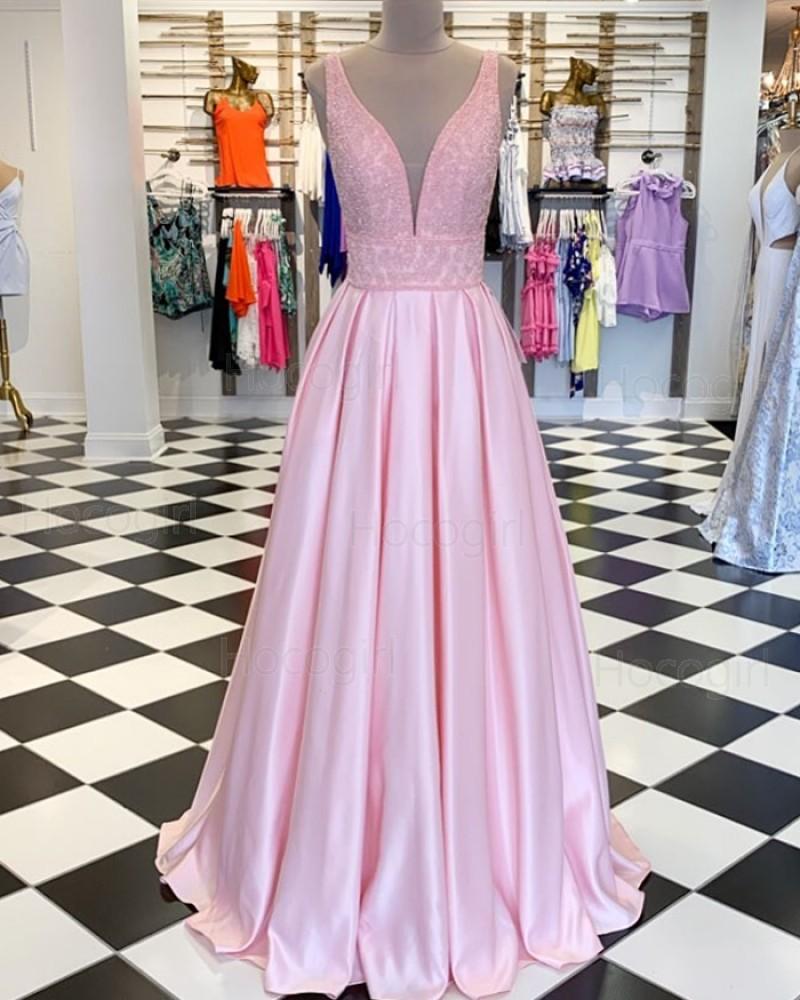 Deep V-neck Pink Beading Bodice Satin Pleated Prom Dress PM1861