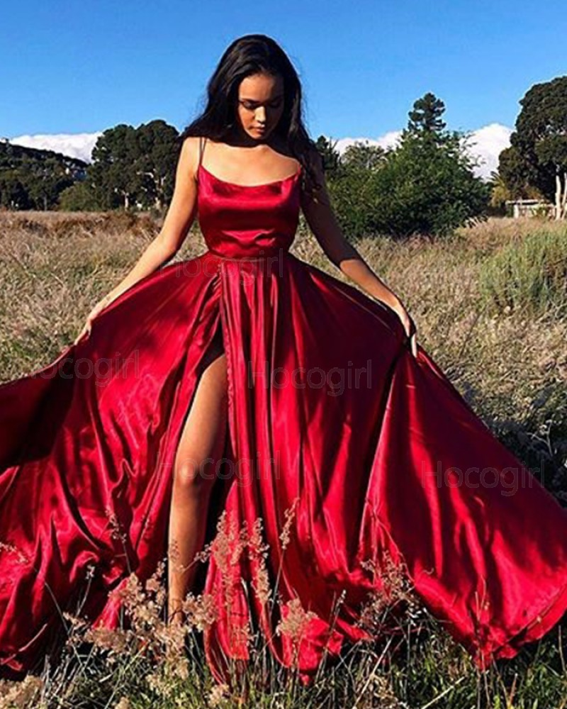 Simple Spaghetti Straps Red Satin Prom Dress with Side Slit PM1874
