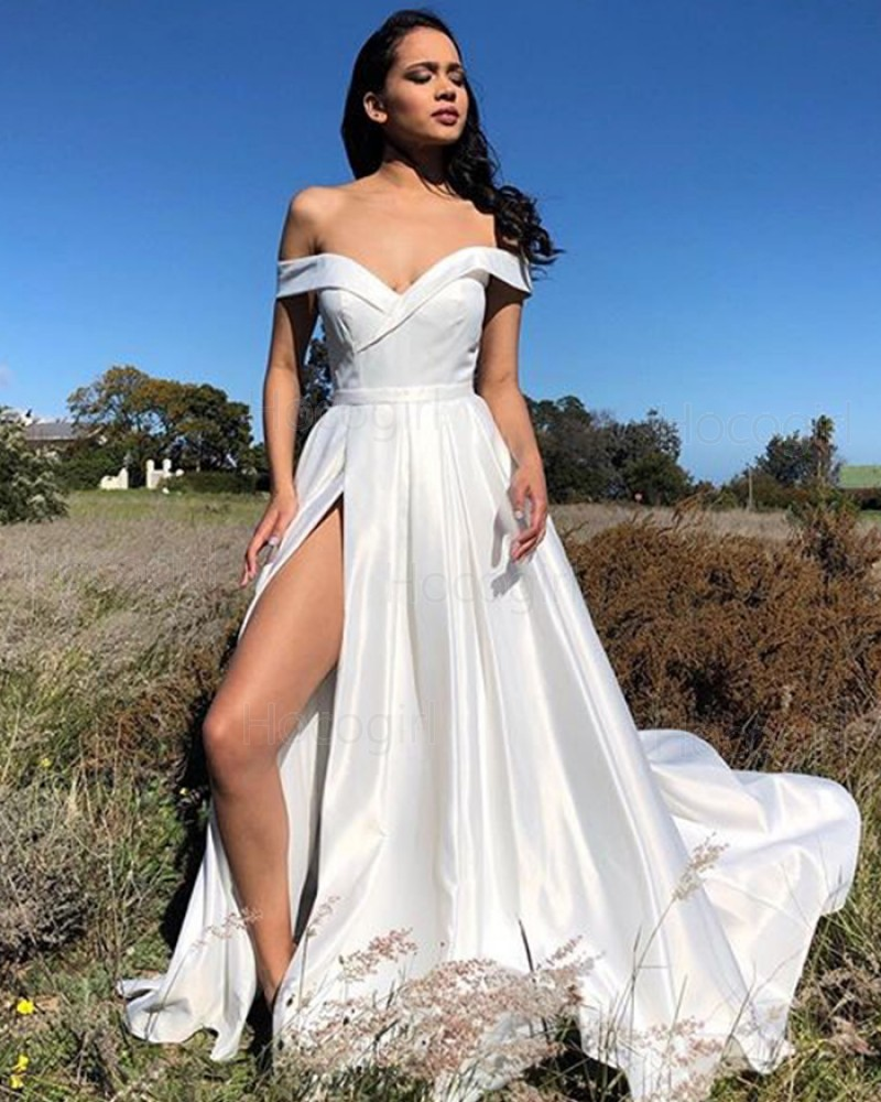 Simple Off the Shoulder White Satin Pleated Prom Dress with Side Slit PM1877