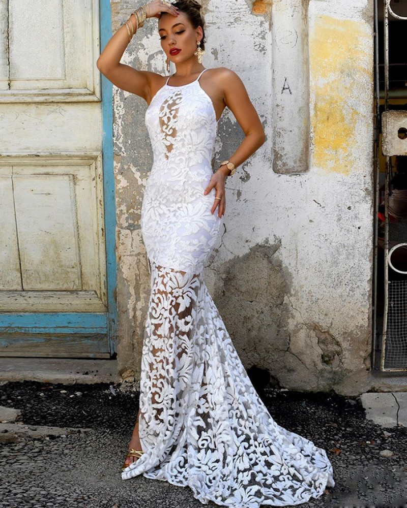 Spaghetti Straps White Lace Mermaid Prom Dress with Side Slit PM1878
