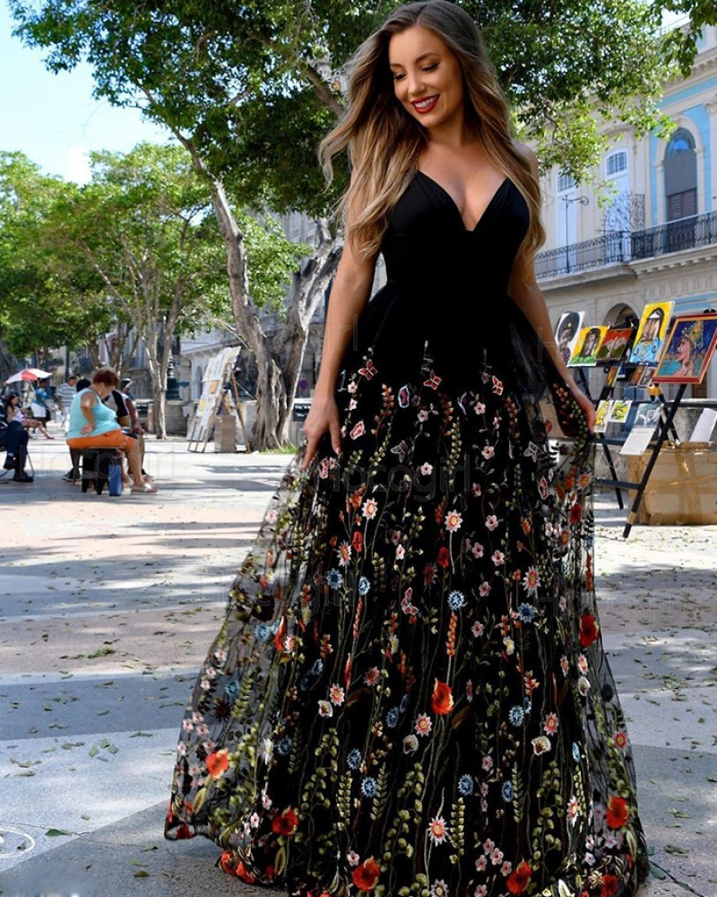 V-neck Black Satin A-line Prom Dress with Floral Lace Skirt PM1884