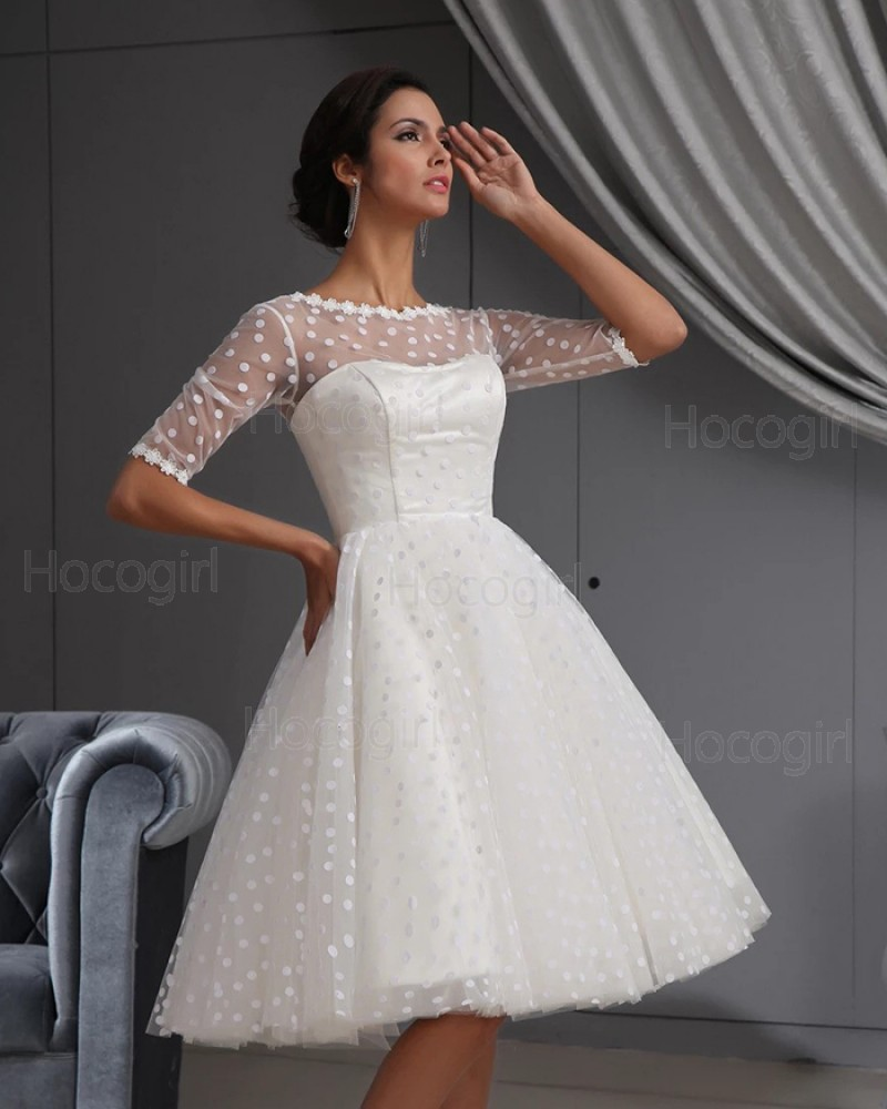 Jewel Neck Polka Dots White A-line Short Wedding Dress with Half Length Sleeves PM1891