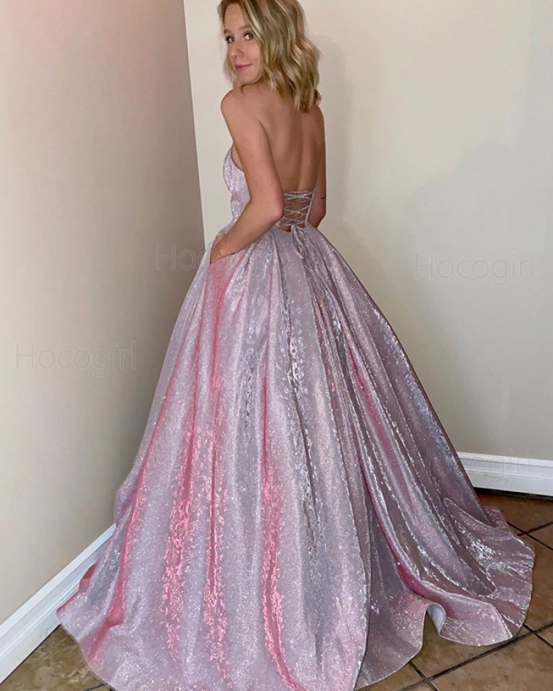 Sweetheart Pink Sparkle Metal Long Prom Dress with Pockets PM1905