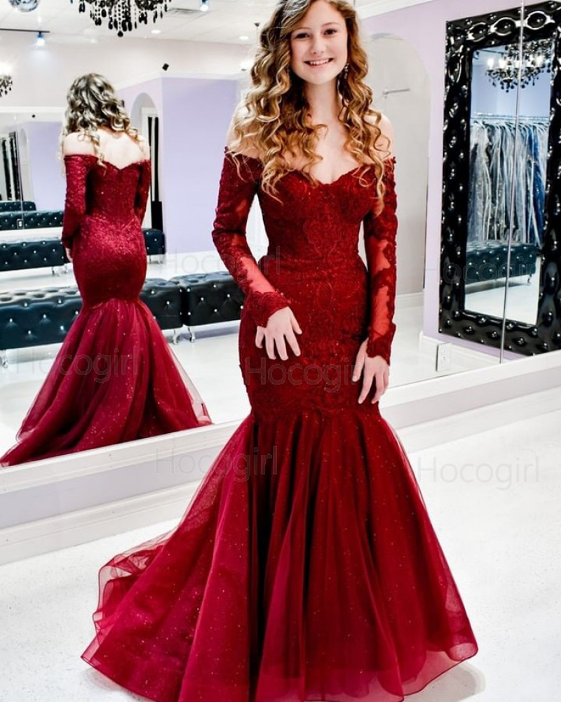 Off the Shoulder Lace Red Mermaid Prom Dress with Long Sleeves PM1937