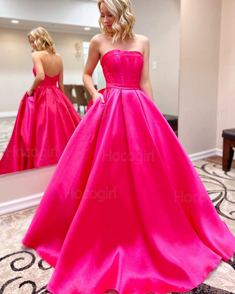 Simple Strapless Rose Red Satin Prom Dress with Pockets PM1938